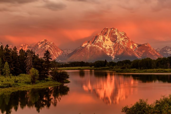 Grand Teton Mountains From Oxbow Bend On The Snake River At Sunr