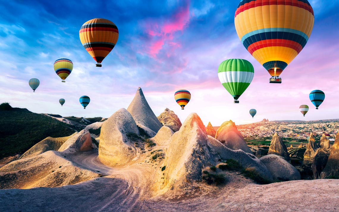 Color Balloons In The Sunrise Sky