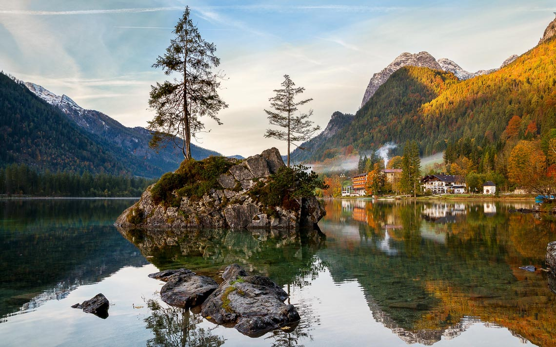 Beautiful Autumn Colors In The Sunrise At The Hintersee Lake In